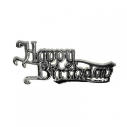 'Happy Birthday' Silver Effect Motto