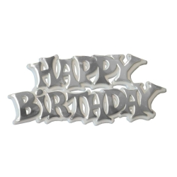 'Happy Birthday' Silver & White Motto