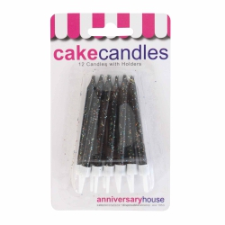 Black Glitter Candles With Holders - 12pk