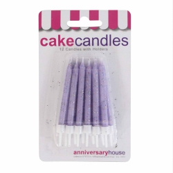 Lilac Glitter Candles With Holders - 12pk