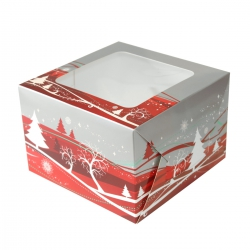 Silver & Red Christmas Design Cake Box