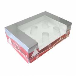 Silver & Red Christmas Design Cupcake Box