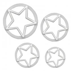 "Stars 5 Point - 1"", 1 3/8"", 1¾"" & 2"" - 4pc"