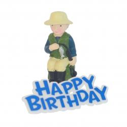 Fisherman Resin Topper & Happy Birthday Motto