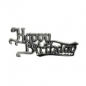 'Happy Birthday' Silver Effect Motto