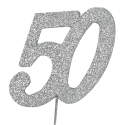 Silver Glitter Number on a Wire