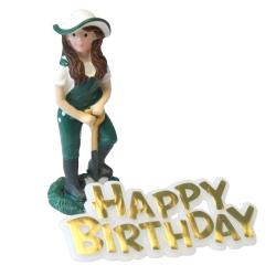 Female Gardener Resin Topper & Happy Birthday Motto