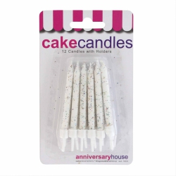White Glitter Candles With Holders - 12pk