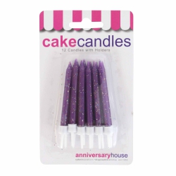 Purple Glitter Candles With Holders - 12pk