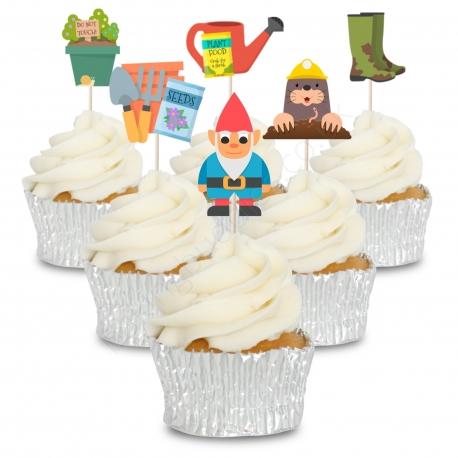 Gardening Set of Cupcake Toppers - 12pk