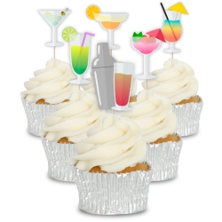 Set of Colourful Cocktails Cupcake Toppers - 12pk