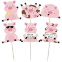 Fun Messy Pigs Cupcake Toppers - 12pk