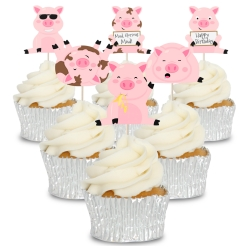 Fun Messy Pigs Cupcake Toppers - 12pk