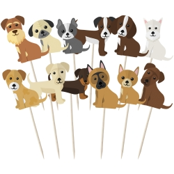 Assorted Cute Dog Breed Cupcake Toppers - 12pk