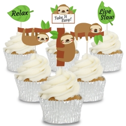 Lazy Sloth Cupcake Toppers - 12pk
