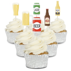 Beer Drinkers Cupcake Toppers - 12pk
