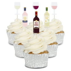 Wine Cupcake Toppers - 12pk