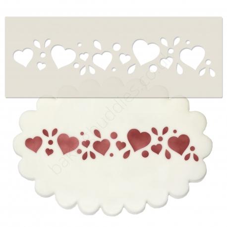 Hearts Design Border Stencil