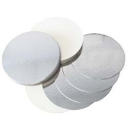 Silver/White Reversible Round Cake Cards