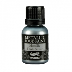 Rainbow Dust Dark Silver Metallic Food Paint 25ml