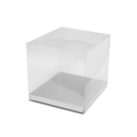 Acetate Box & Silver Base 120mm x 120mm x 120mm Pack/10