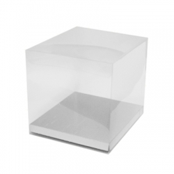 Acetate Box & Silver Base 80mm x 80mm x 90mm Pack/10