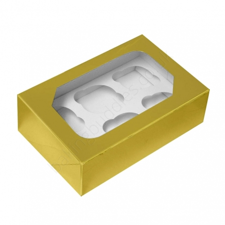 Gold Cupcake Box With Insert Holds 6