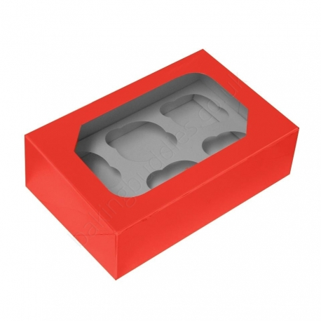 Red Cupcake Box With Insert Holds 6