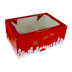Christmas Design Cupcake Box Holds 6