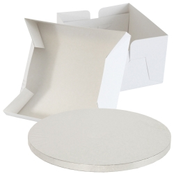 Silver Round Cake Board Drum & Box Combo
