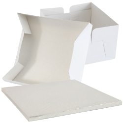Silver SQUARE Cake Board Drum & Box Combo