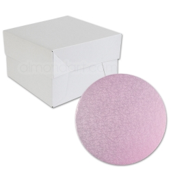 Baby Pink ROUND Cake Board Drum & Box Combo