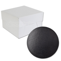 Black ROUND Cake Board Drum & Box Combo