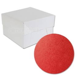 Red ROUND Cake Board Drum & Box Combo