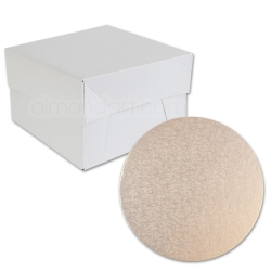 Rose Gold ROUND Cake Board Drum & Box Combo