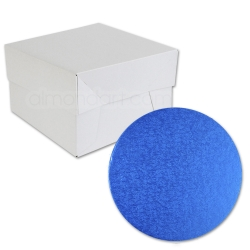 Royal Blue ROUND Cake Board Drum & Box Combo