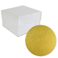 Gold ROUND Cake Board Drum & Box Combo