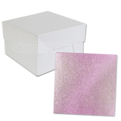 Baby Pink SQUARE Cake Board Drum & Box Combo