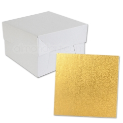Gold SQUARE Cake Board Drum & Box Combo