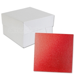 Red SQUARE Cake Board Drum & Box Combo