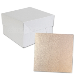 Rose Gold SQUARE Cake Board Drum & Box Combo