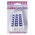 Navy and White Polka Dot Stripe Candles - 12pk