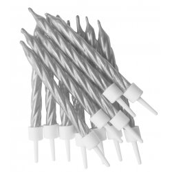 Metallic Silver Spiral Candles With Holders 12/pk
