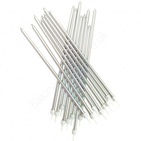 Extra Tall Metallic Silver Candles with Holders - 16 Pack