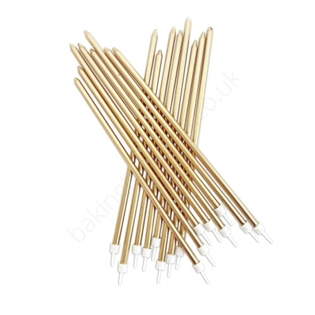 Extra Tall Metallic Gold Candles with Holders - 16 Pack