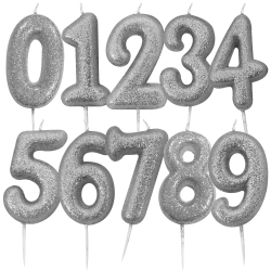 Silver Glitter Moulded Number Candle