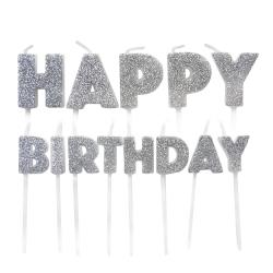 Silver Glitter Happy Birthday Pick Candles