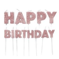 Rose Gold Glitter Happy Birthday Pick Candles