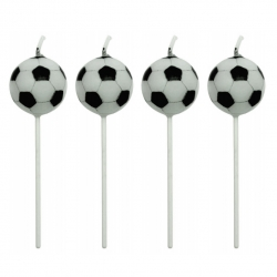 Football Ball Pick Candles - 4pk