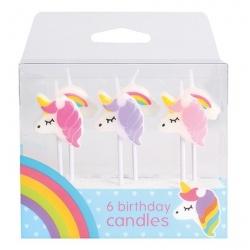 Unicorn Candles 70mm 6/Pk